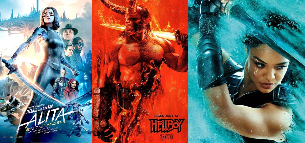 Alita, Hellboy, Thor Ragnarok posters