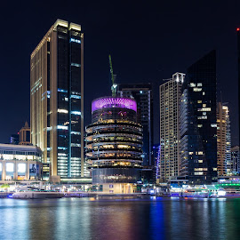 Dubai Marina by Ansari Joshi - Buildings & Architecture Office Buildings & Hotels ( malls, buildings, nightscape, cityscapes, long exposure, skyline, my photography, dubai, night photography, architecture,  )