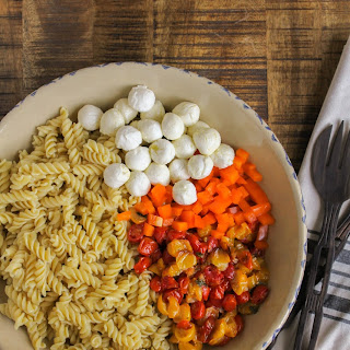 Roasted Tomato and Sweet Pepper Pasta with Fresh Mozzarella