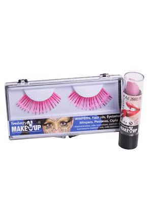 Ögonfransar och läppstift, rosa