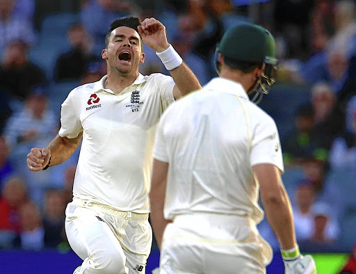 England's James Anderson celebrates the wicket of Cameron Bancroft in Adelaide. Picture: REUTERS