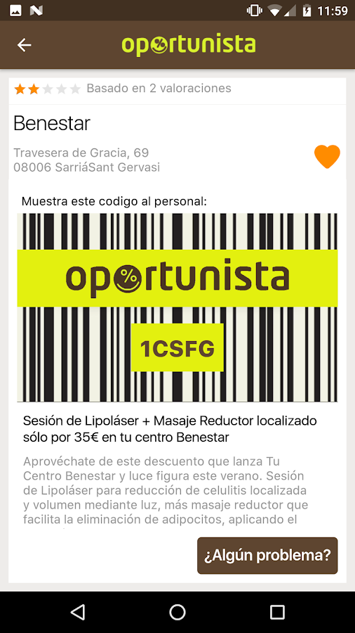 Oportunista: captura de pantalla