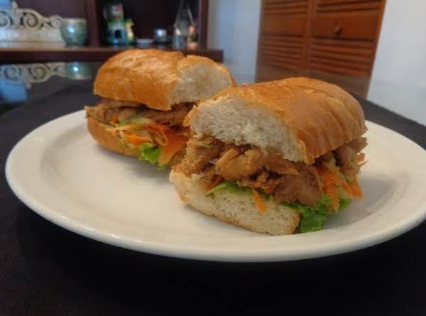 Bbq Chicken Marinated With My Special Asian Flavored Sauce And Sweet Sour Carrot And Cucumber Salad Sandwich.