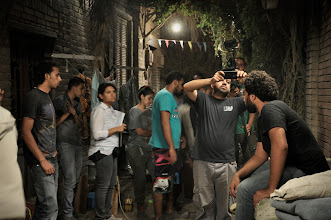 Photo: Ahmad Abdalla with 1st AD Omar Zohairy On the set of Rags & Tatters - Cairo 2013