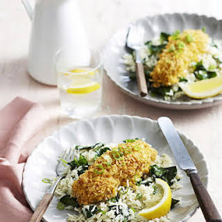 Mustard Crusted Fish with Spinach and Rice Pilaf.