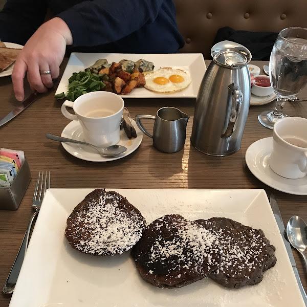 Protein gf pancakes hubby (non coeliac) had steak & eggs