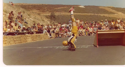 Photo: Steve in a elbow stand at the Y.M.C.A. contest. Notice the hills of La Costa in the background