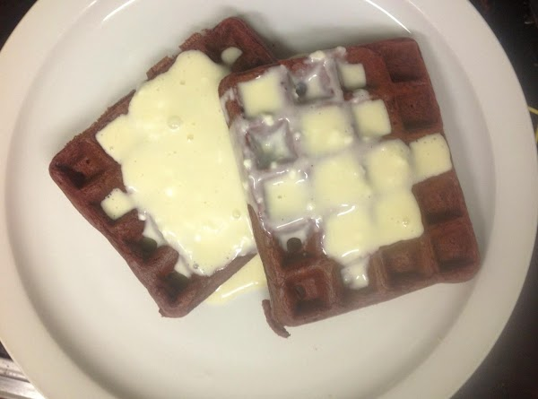 Pour syrup over waffles.