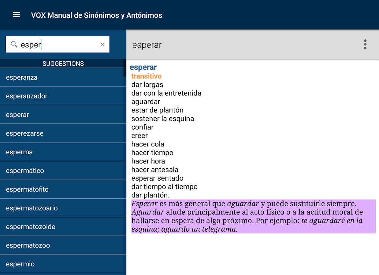 Vox Spanish Language Thesaurus- screenshot