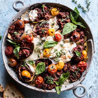 Italian Turkey and Tomato Basil Eggplant Roll Pasta Bake..