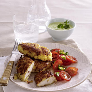 Potato Crusted Chicken with Salsa Verde and Tomato Salad