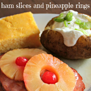 Slow Cooker Ham Steaks and Pineapple Rings.