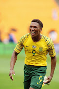Lebo Mothiba of Bafana Bafana celebrates scoring a goal  during  during the 2019 Africa Cup of Nations qualification match between Bafana Bafana and Seychelles at FNB Stadiumon.
