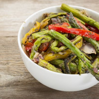 Asparagus, Yellow Pepper, and Eggplant Salad