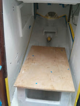 "Photo: Used a piece of 3/4"" plywood as a platform for painting the aft section of the lower engine compartment"