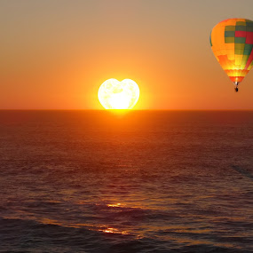 Love Horizon by Dennis Mai - Landscapes Sunsets & Sunrises ( hot air balloon )