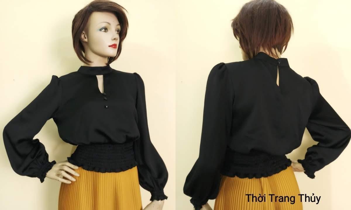 Áo nữ tay bồng nhún chun eo vải lụa đen V672 thời trang thủy