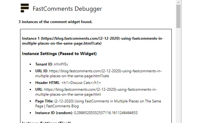 FastComments Debugger