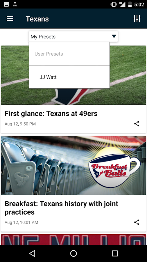 Houston Texans Mobile App- screenshot