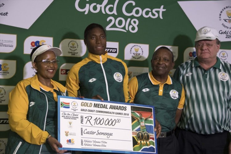 Sports Minister Tokozile Xasa, Caster Semenya, Gideon Sam, president of Sascoc during the SASCOC Champions Parade at Sammy Marks on April 23, 2018 in Pretoria, South Africa.