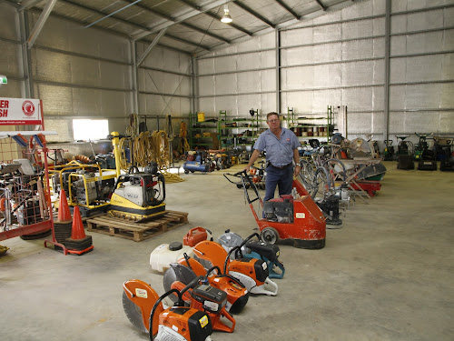 Ross Campbell with some of the huge range of equipment for hire from Campbells Hire at the Francis Street premises.