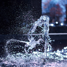 Fountain by Missy Roberts - City,  Street & Park  Fountains ( water, purple, blue, still, wet, fun )