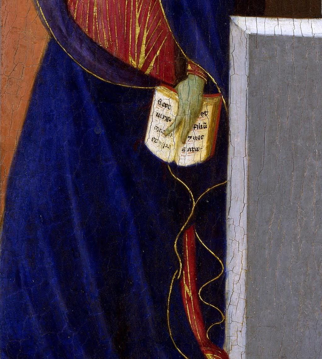 Duccio di Boninsegna, Maestà del Duomo di Siena (particolare) (1308-1311), tempera e oro su tavola, dal Duomo di Siena, Londra, National Gallery