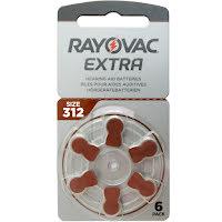 312 6-Pack RAYOVAC EXTRA - Hörapparatsbatterier