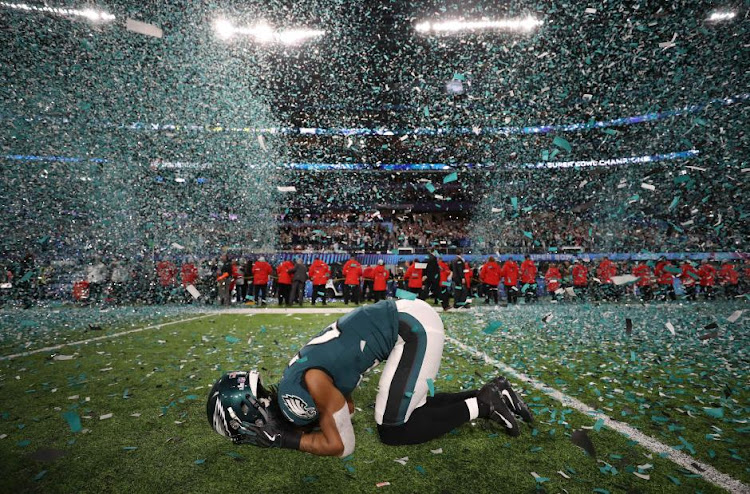 Philadelphia Eagles' Patrick Robinson celebrates winning Super Bowl LII. REUTERS/Chris Wattie