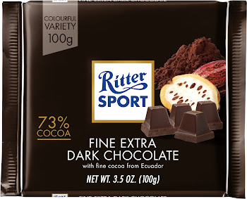 Ritter Sport Chocolate Bar - Fine Extra Dark Chocolate, 100g