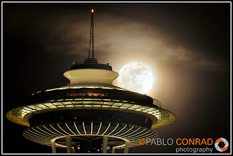 Photo: © Paul Conrad/Pablo Conrad Photography The super perigee moon (SuperMoon) rises from behind the Space needle in Seattle, Wash, on Tuesday evening Mar. 15, 2011.