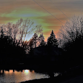 A Country Church by Kathy Woods Booth - Buildings & Architecture Places of Worship ( waterscape, reflections, dusk, church, sunset, silhouette, worship, silhouettes )