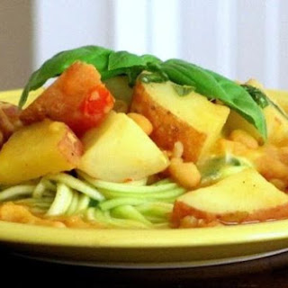 Red Potato Curry Over Lemon-Basil Zucchini