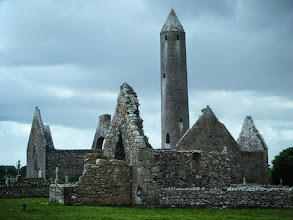 Photo: Kilmacduagh monastery.  It was active from the 7th century to the 14th century.