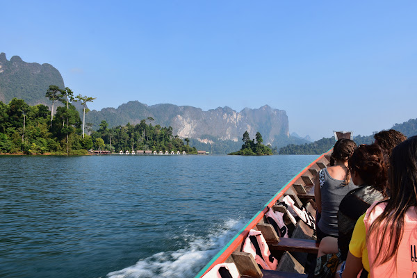 Sightseeing trip on Cheow Lan Lake by traditional longtail boat