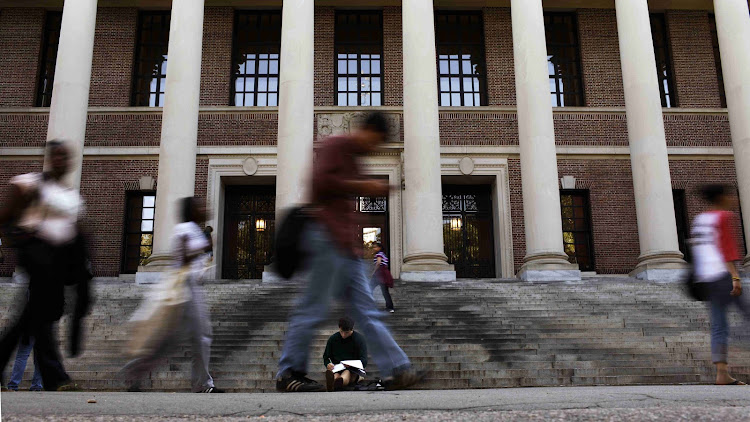 A students sits on the steps of Widener Library at Harvard University in Cambridge, Massachusetts. File Picture: REUTERS