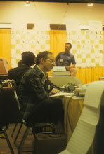 Photo: Fred Swartz at the 10th ACM Computer Chess Tournament in Detroit, 1979. Photograph by Gavin Eadie.