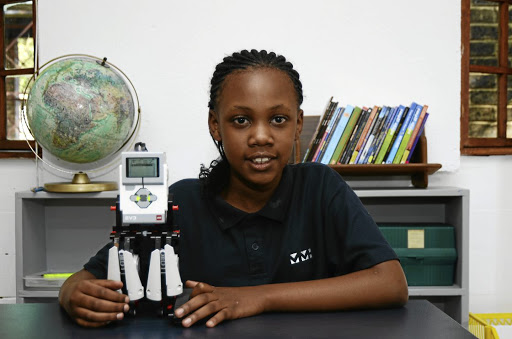 Karabo Matlali of Fourways has built and coded a mini robot using Lego pieces.
