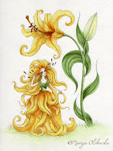 """Photo: """"Yellow Lily"""" More flower maidens=) Completed with micron pens + waterproof colour inks. 9x12 inches. The imagery here is the hyacinth lady in waiting from """"Little Ida's Flowers"""" - a fairytale by Hans Christen Andersen."""