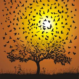 by Vladimir Ceresnak - Illustration Animals ( old, symbol, illustration, sorcerer, crow, flock, bird, raven, hunter, chestnut, magic, tree, nature, fly, background, carrion, air, black )