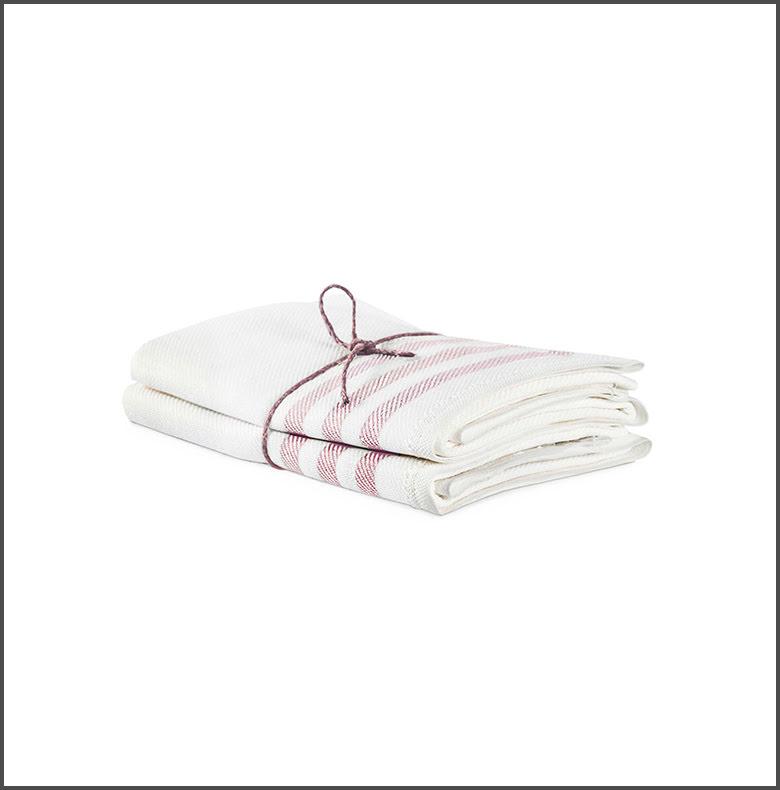 Handduk Diagonal benvit-rosa