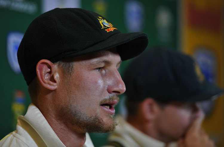 Australian cricket captain Steve Smith (right) and Cameron Bancroft address the media in Cape Town. Picture: GALLO IMAGES