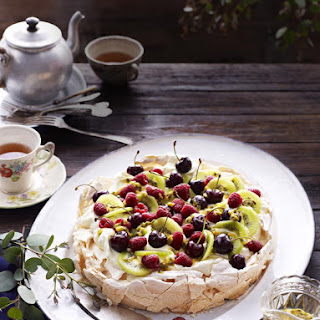 Pavlova with Kiwi, Cherries, and Passion Fruit