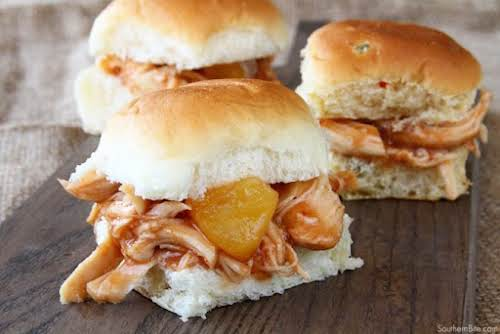 "Click Here for Recipe: Slow Cooker Pineapple Chicken Sliders ""These Slow Cooker..."