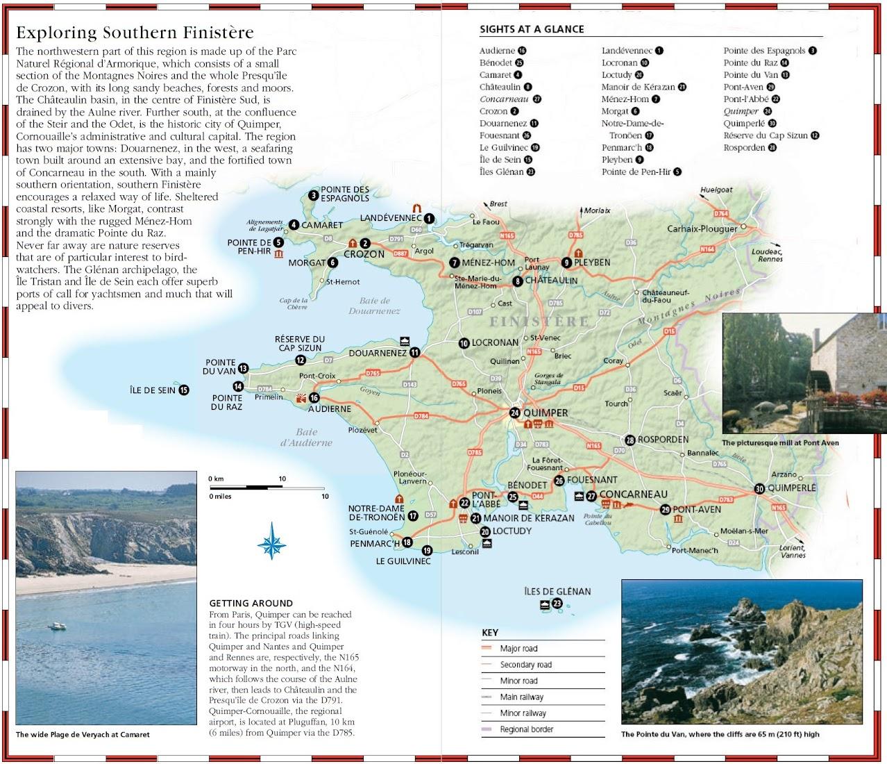 Карта и достопримечательности юга департамента Finistere - Карта Бретани - скачать бесплатно - достопримечательности, города, регионы, схема дорог. Что посмотреть в Бретани. Путеводитель по Бретани и Франции.