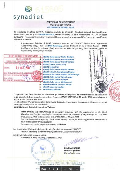 giấy chứng nhận bữa ăn cân bằng VSanté