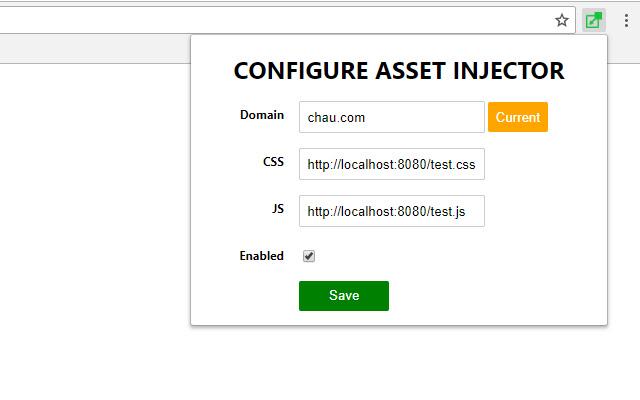 Asset injector Google Chrome extension