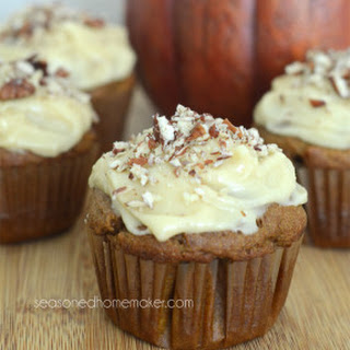 Gluten-Free Pumpkin Spice Cupcakes with Cream Cheese Maple Frosting.