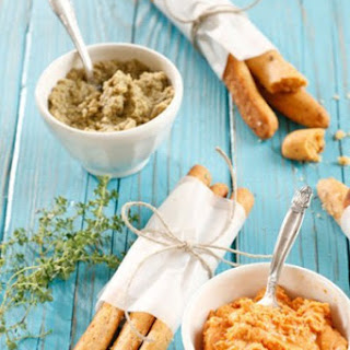 Spicy Cheese Sticks Served with Sun Dried Tomato Hummus and Green Olive Tapenade.