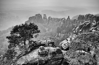 Photo: Schrammsteinaussicht in B/W. It was very cold and windy without sunshine here on top of this great spot. Taken last sunday in Saxony Switzerland.